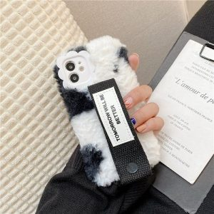 Black cow plush iPhone case