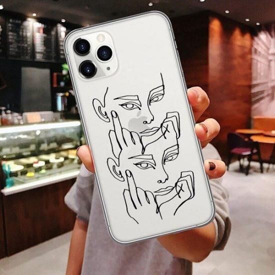 Clear line art face phone case
