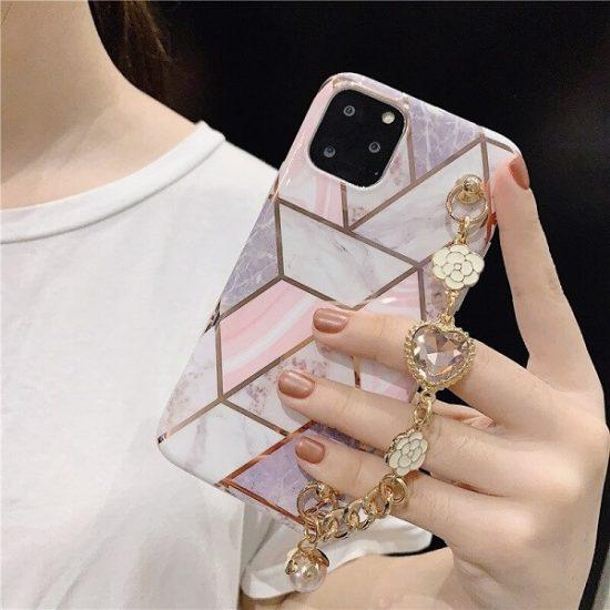 Jewel Geometric Marble iPhone case with diamond bracelet