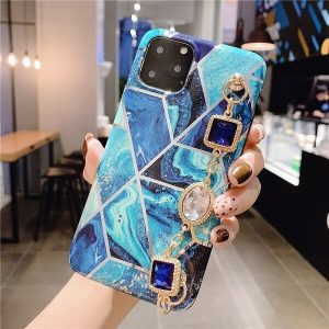 Jewel Geometric Marble phone case with diamond bracelet
