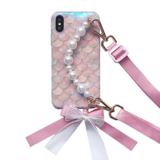 Mermaid iPhone Case With Pearl Strap