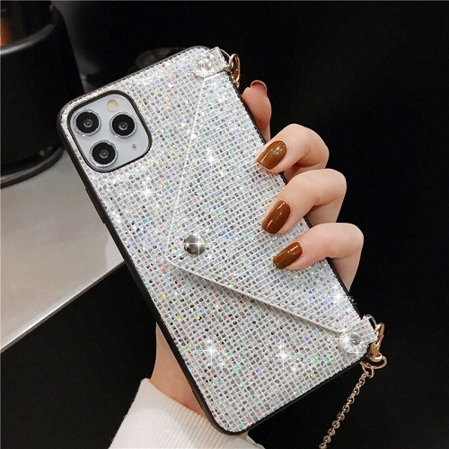 Silver Diamond Wallet iPhone Case With Chain Strap