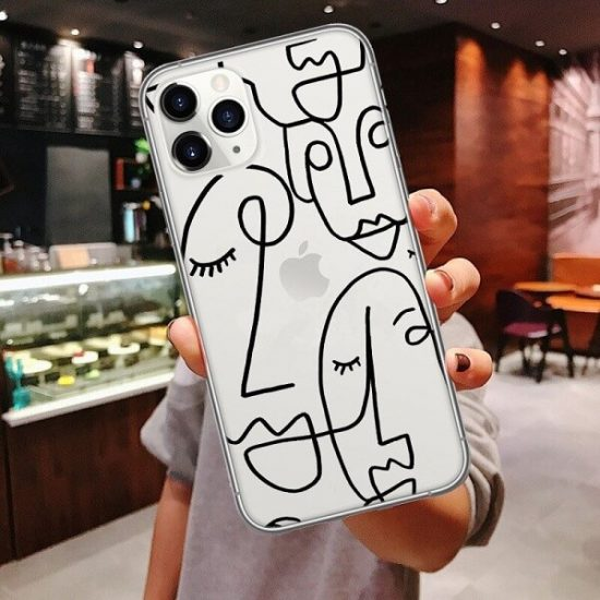 abstract face line art phone case