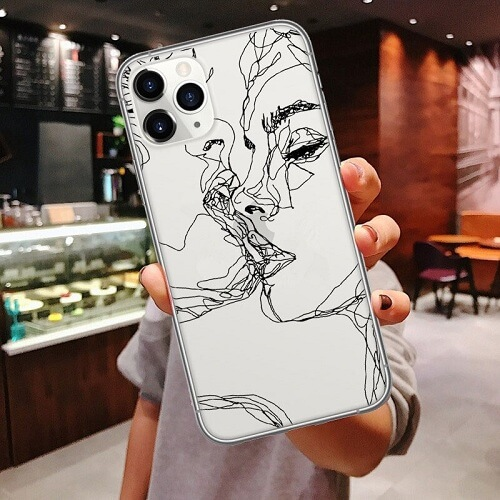 abstract faces line art phone case clear