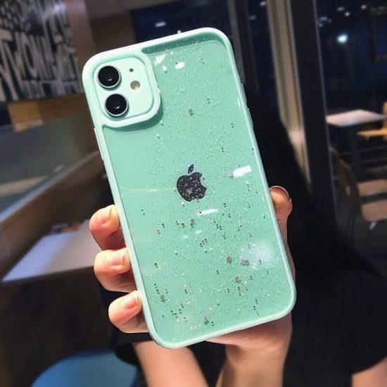 green Glitter Star iPhone 12 Case