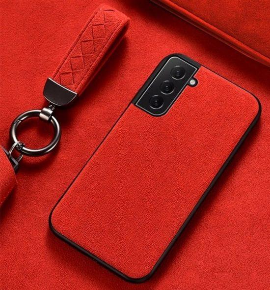 Hot Red Alcantara Samsung S21 Plus case