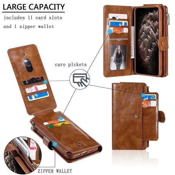 Large capacity: 11 card slots and zipper wallet