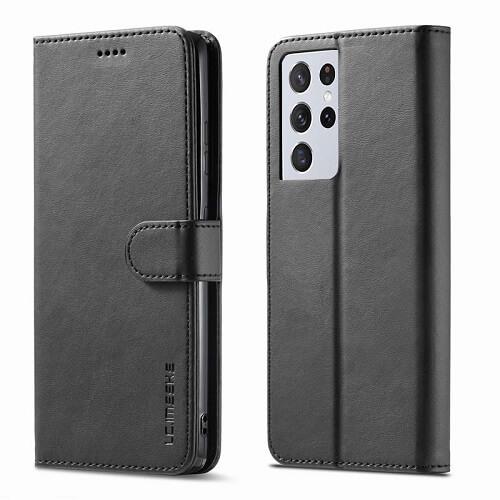 Black Samsung Galaxy S21 Ultra 5G Leather Flip Wallet Case