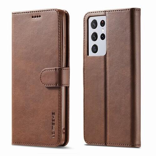 Brown Samsung Galaxy S21 Ultra 5G Leather Flip Wallet Case