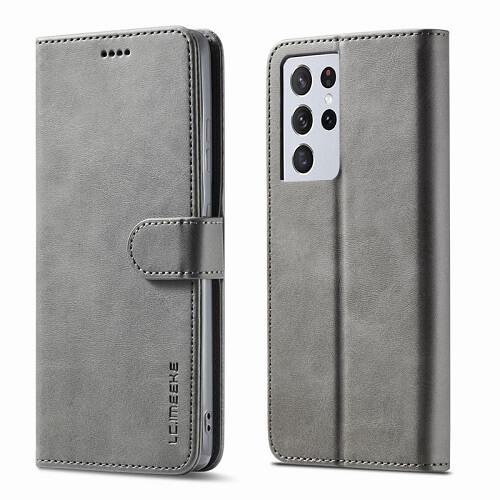 Gray Samsung Galaxy S21 Ultra 5G Leather Flip Wallet Case