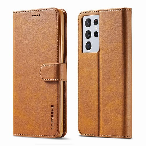 Yellow Samsung Galaxy S21 Ultra 5G Leather Flip Wallet Case