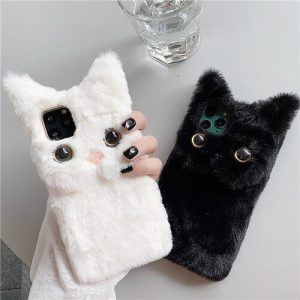 3D Cute Fluffy Cat Phone Case