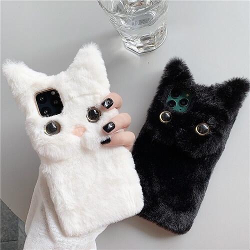 3D Cute Fluffy Cat Phone Case
