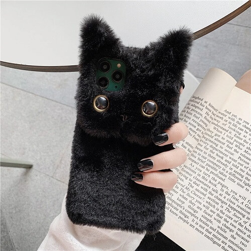 Black 3D Cute Fluffy Cat Phone Case