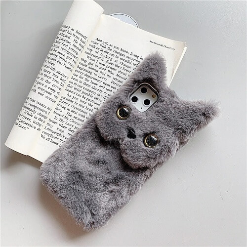 Gray 3D Cute Fluffy Cat Phone Case