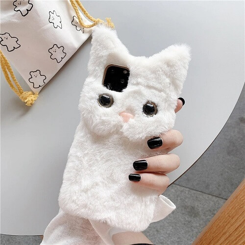 White 3D Cute Fluffy Cat Phone Case