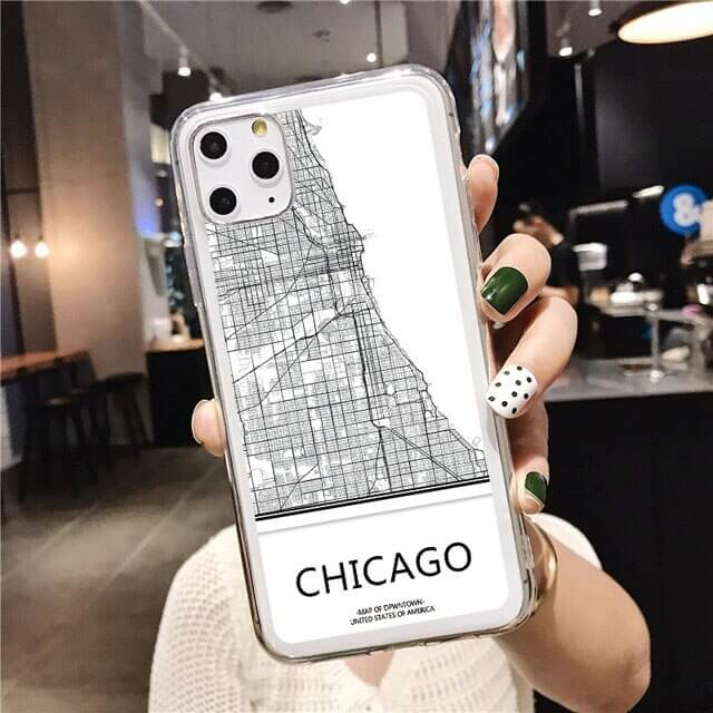 clear CHICAGO Map phone case