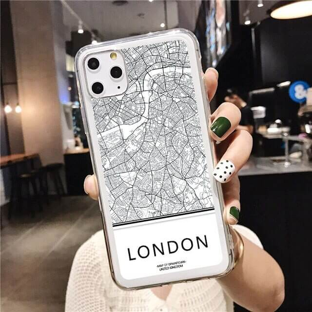 clear LONDON Map phone case
