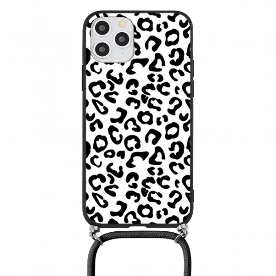 Black Leopard iPhone Case With Cord Strap