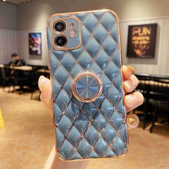 Blue Grey Quilted iPhone Case With Ring Holder