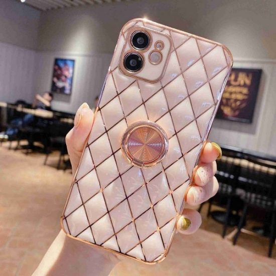 Pink Quilted iPhone Case With Ring Holder
