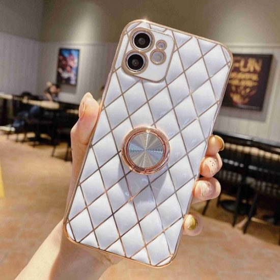 White Quilted iPhone Case With Ring Holder