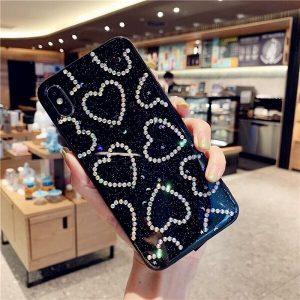 crystal hearts glitter phone case