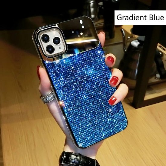 jewelled Blue iPhone case with mirror