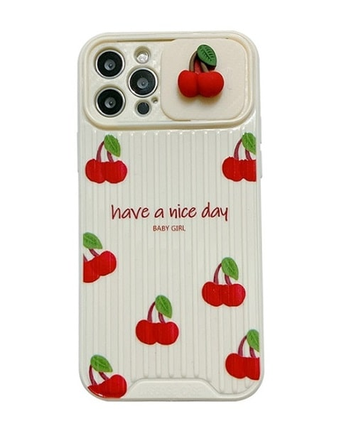 Cherry Phone Case With Slide Camera Lens Protection