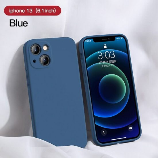 Blue Square Candy Color Silicone iPhone 13 Case