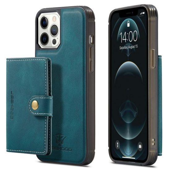 Dark Green Detachable Wallet iPhone 13 Pro Max Case Cover