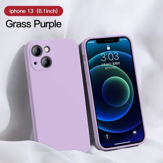 Grass purple Square Candy Color Silicone iPhone Case