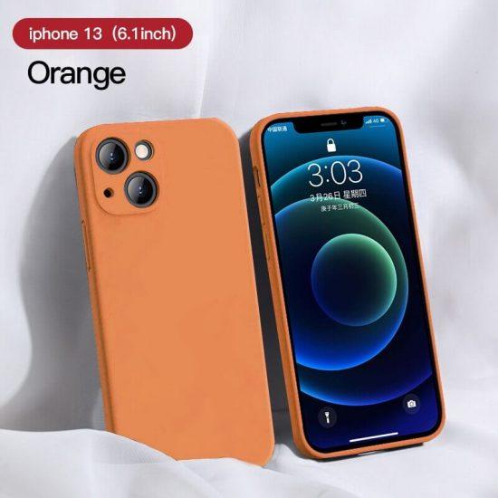 Orange Square Candy Color Silicone iPhone 13 Case