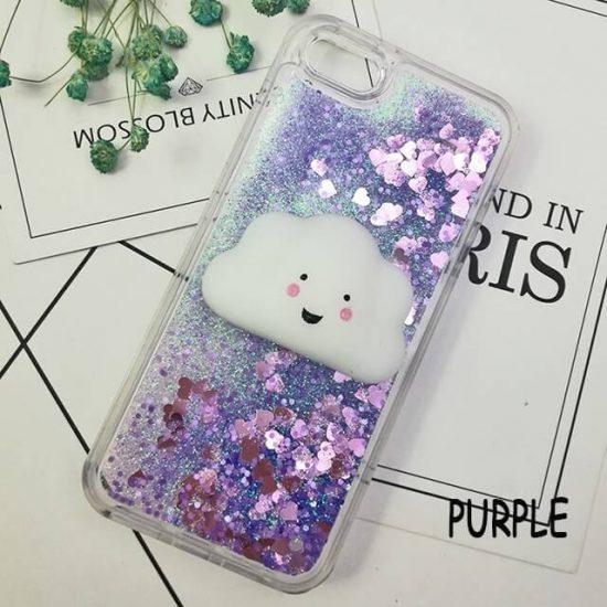 Purple Glitter Squishy Cat Phone Case