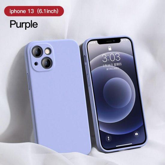Purple Square Candy Color Silicone iPhone 13 Case