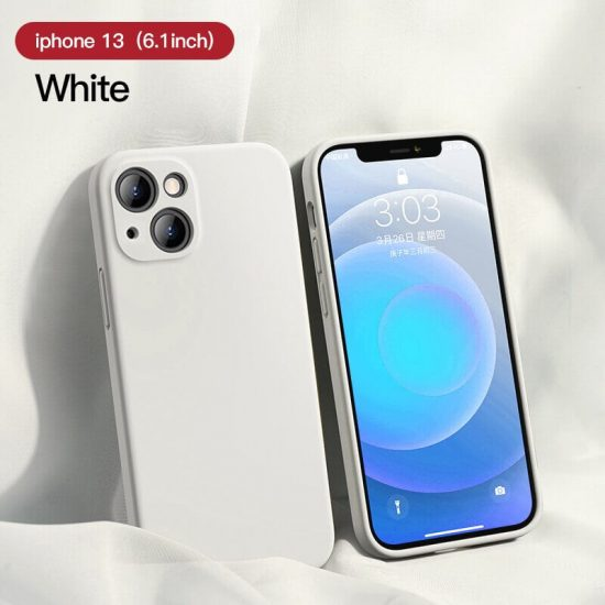 White Square Candy Color Silicone iPhone 13 Case