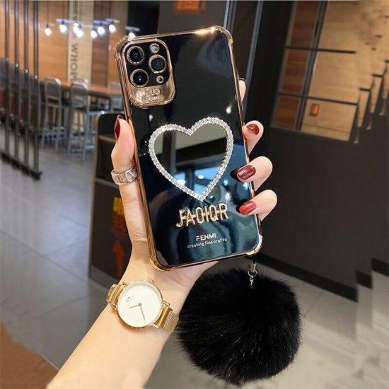 Black Heart Mirror case with Hair ball