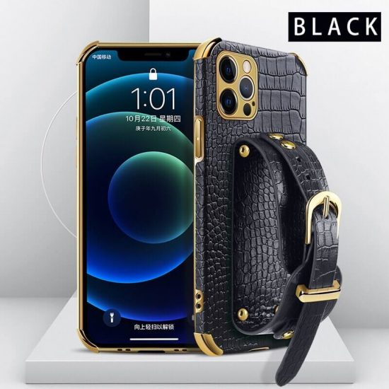 Black Leather Phone Case with Hand Strap Holder