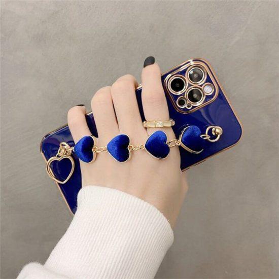 Blue Love Heart iPhone Case With Hand Bracelet Holder
