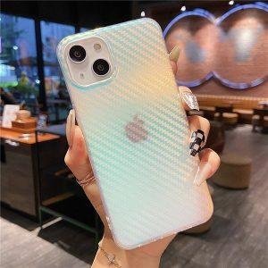 Carbon Fiber Rainbow Gradient Laser iPhone 13 Case