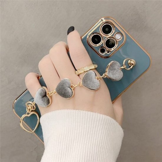 Gray Heart iPhone Case With Hand Bracelet Holder