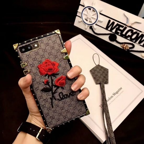 Gray Square 3D Rose Flower Phone Case With Lanyard