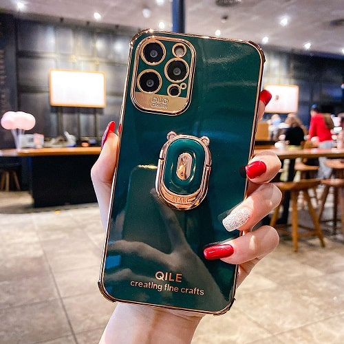 Green Gold Laser iPhone Case With Finger Ring