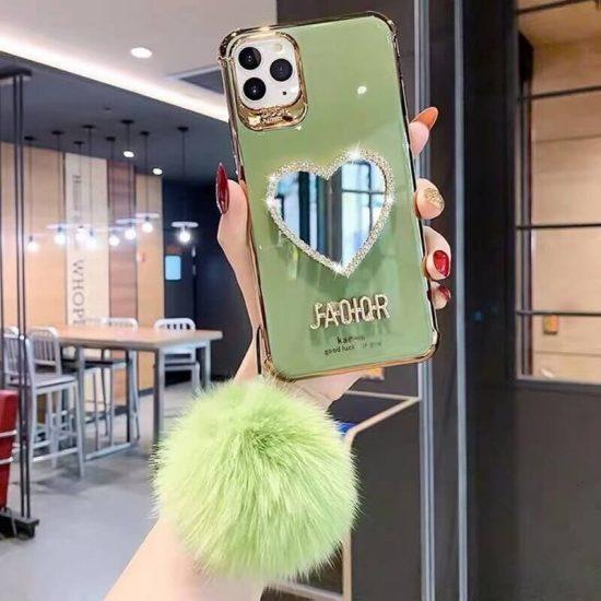 Green Heart Mirror case with Push Hairball