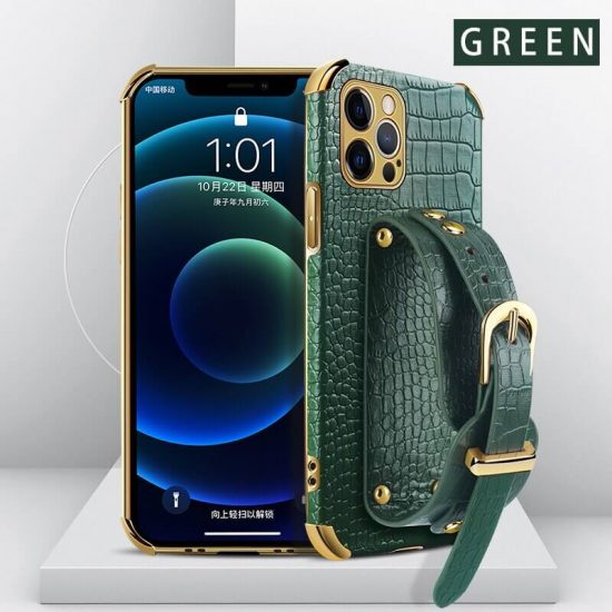 Green Leather iPhone Case with Hand Strap Holder