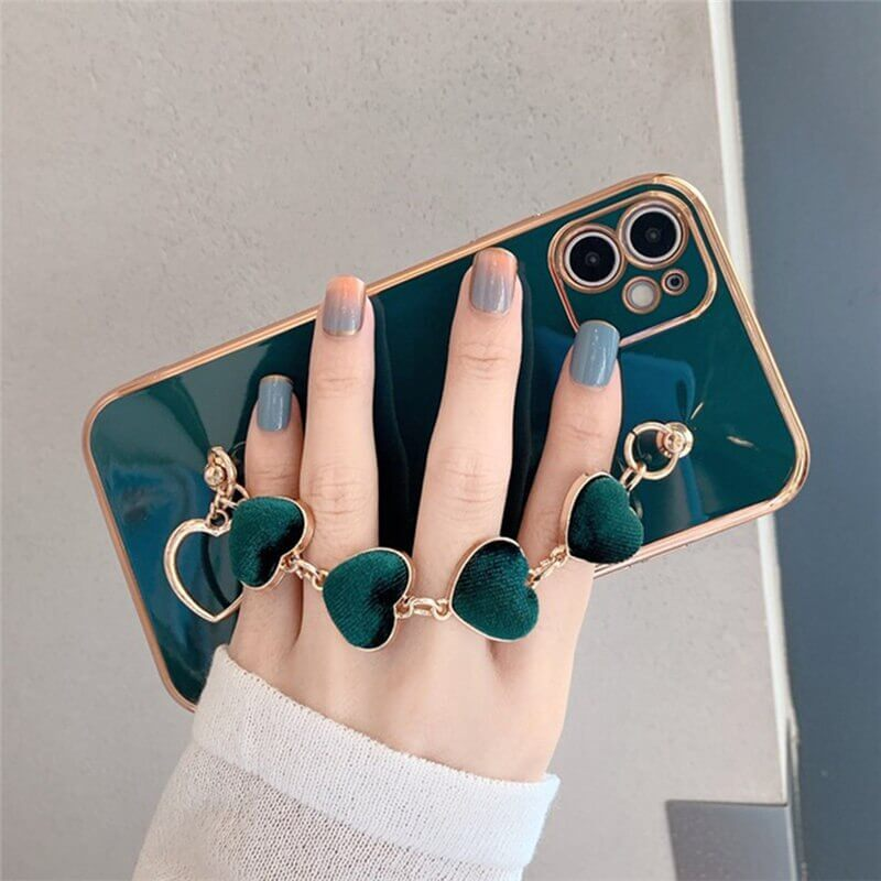 Green Love Heart iPhone Case With Hand Bracelet Holder