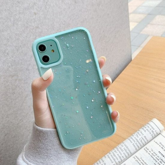 Green Shockproof Star Glitter iPhone 13 Pro Max Case