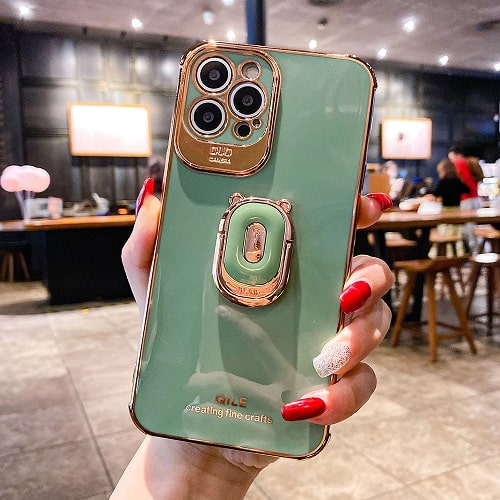 Light green electroplated iPhone Case With Ring holder