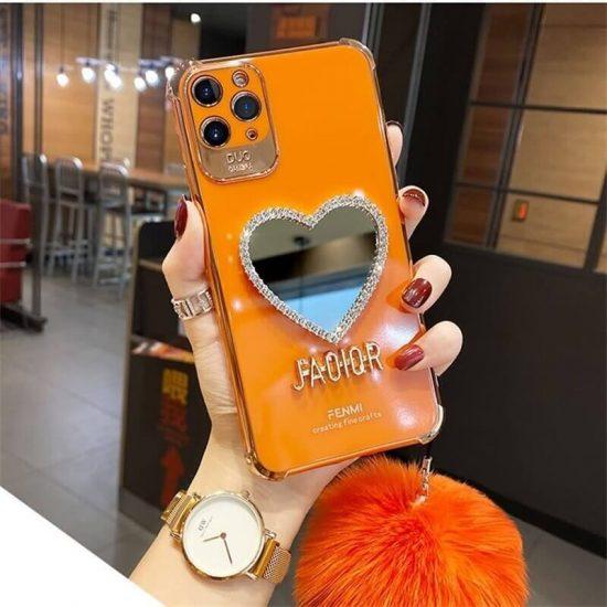 Orange Heart shaped Mirror case with Plush Hairball
