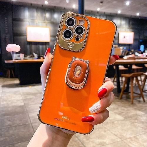 Orange Laser iPhone Case With Finger Ring